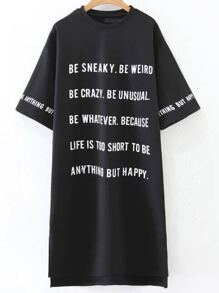 Black Letter Print Crew Neck High Low Dress
