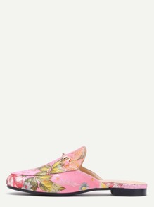 Pink Floral Embroidered Satin Loafer Slippers