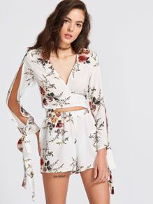 White Floral Print Bow Tie Blouse With Shorts