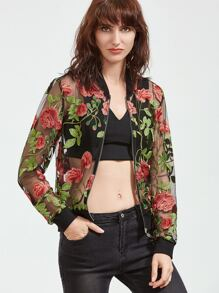 Multicolor Rose Embroidered Zip Up Organza Bomber Jacket