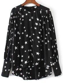 Black Star Print High Low Blouse