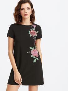 Black Flower Embroidered Short Sleeve Tee Dress
