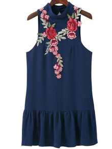 Navy Floral Embroidery Open Back Sleeveless Ruffle Hem Dress