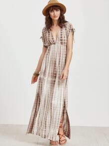 Coffee Tie Dye Print Double V Neck High Waist Dress