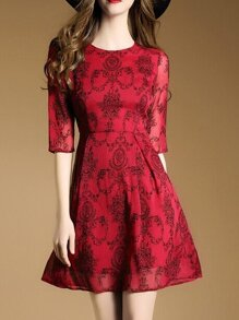 Red Crew Neck A-Line Dress