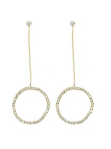 Gold Color Elegant Rhinestone Circle Shape Pendant Earrings