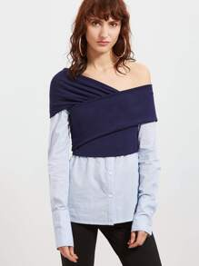Contrast Cross Wrap Asymmetric Off The Shoulder 2 In 1 Blouse