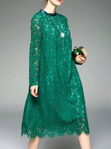 Green Mesh Lace Shift Dress