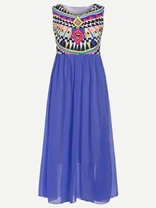 Blue Geometric Print Sleeveless 2 In 1 Dress