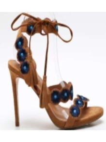Apricot Peep Toe High Heels Tassel Tie Sandals