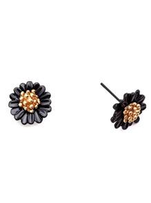 Black Daisy Ear Studs