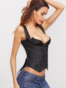 Black Floral Pattern Asymmetrical Lace Up Corset With Briefs