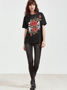Black Embroidered Rose Applique Short Sleeve T-shirt