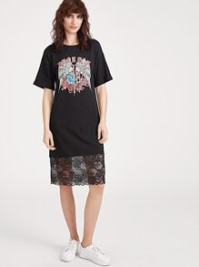 Black Graphic Print Lace Trim Tee Dress