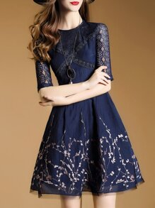 Navy Embroidered Mesh A-Line Dress