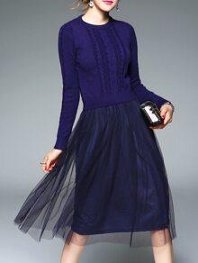 Navy Knit Contrast Gauze Combo Dress