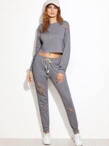 Heather Grey Ripped Crop Sweatshirt With Pants