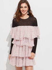 Contrast Sheer Shoulder And Sleeve Polka Dot Layered Ruffle Dress