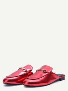 Red Patent Leather Loafer Slippers