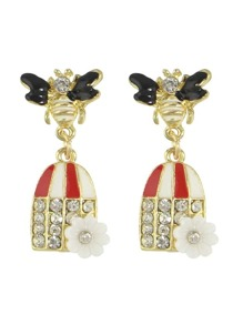 Red Color Enamel Rhinestone Bee Shape Statement Earring