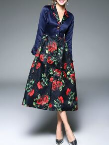 Navy V Neck Flowers Jacquard Dress