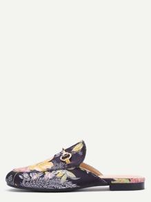 Black Floral Embroidered Satin Loafer Slippers