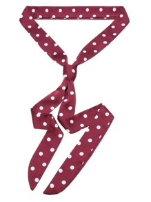 Burgundy Contrast Polka Dot Tie Neck Scarf