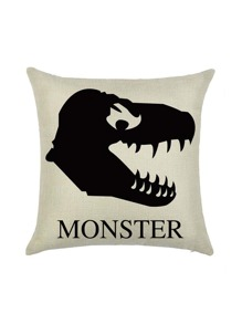 Apricot Monster Print Pillowcase Cover