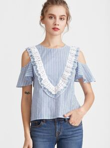 Blue Striped Eyelet Embroidered Ruffle Trim Cold Shoulder Top