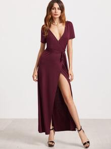 Burgundy Deep V Neck Surplice Wrap Dress