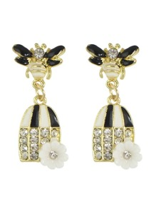 Black Color Enamel Rhinestone Bee Shape Statement Earring