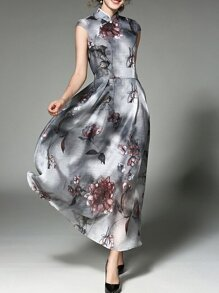 Grey Cap Sleeve Flowers Print Maxi Dress