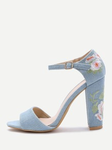 Blue Velvet Florals Chunky Heel Sandals
