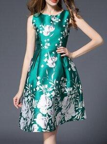Green Sleeveless Flowers Print A-Line Dress