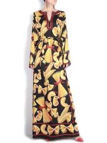 Black V Neck Print Maxi Dress