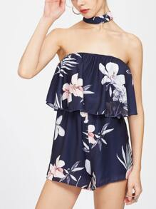 Navy Off The Shoulder Floral Jumpsuit With Choker