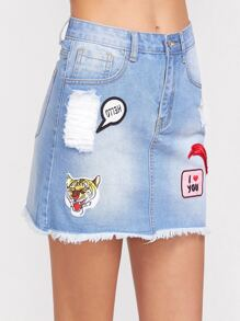 Blue Bleach Wash Patch Detail Frayed Denim Skirt