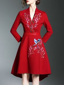 Red V Neck Flowers Embroidered High Low Dress