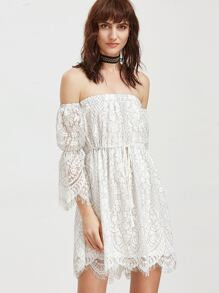 White Off The Shoulder Drawstring Waist Floral Lace Dress