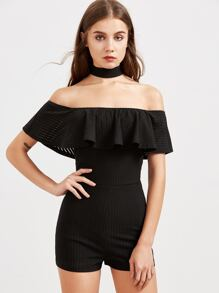 Black Striped Ruffle Off The Shoulder Skinny Romper With Choker