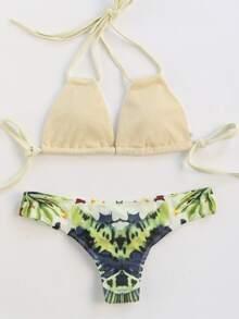 Apricot Floral Print Mix & Match Sexy Bikini Set