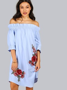 Blue Rose Patch Detail Off The Shoulder Dress