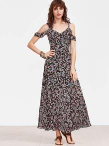 Multicolor Paisley Print Cold Shoulder Dress