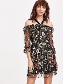 Black Cold Shoulder Flower Embroidered Mesh Dress