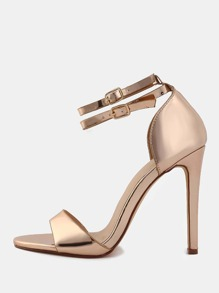 Metallic Open Toe Stilettos ROSE GOLD