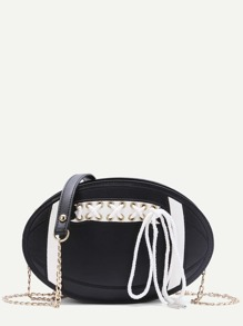 Black Ball Shape Lace Up Chain Bag