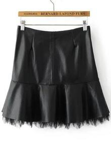 Black Lace Hem Zipper Back PU Skirt