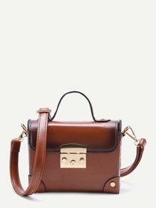 Brown Studded Flap PU Shoulder Bag