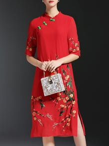 Red Flowers Embroidered Shift Split Dress