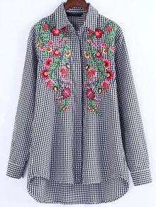 Black And White checked Embroidered High Low Shirt Dress